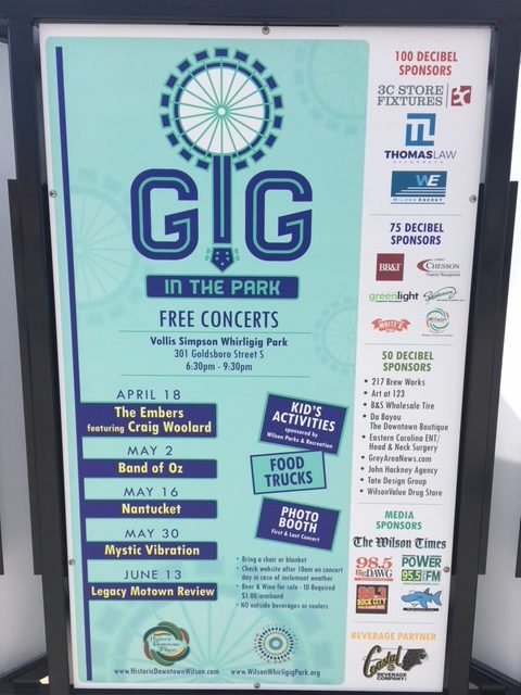 Gig In The Park sign showing 2018 sponsors including The Grey Area News. Source: Susan Kellum