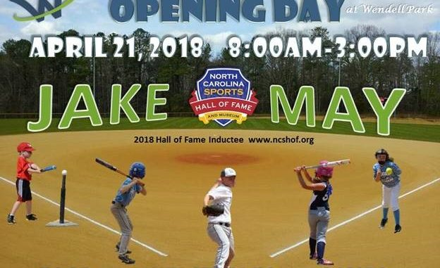 Jake May Opening Day baseball flyer. Source: Sherry L. Scoggins, Town of Wendell, North Carolina