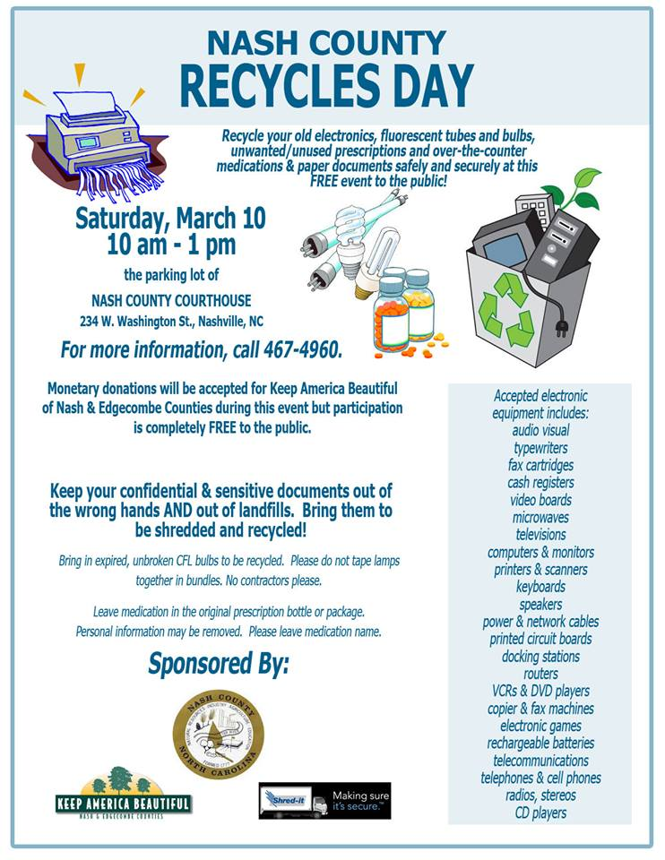 Nash County Recycles Day 2018 flyer. Source: Nash County NC