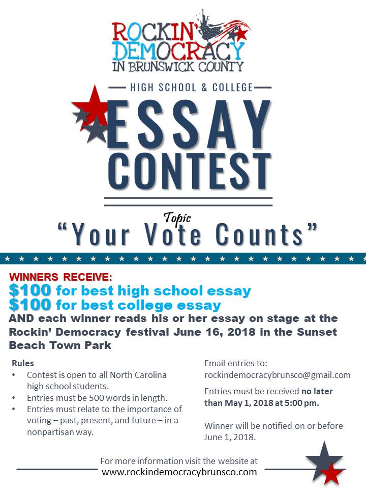 Your Vote Counts student essay contest poster. Source: Rockin' Democracy in Brunswick County NC