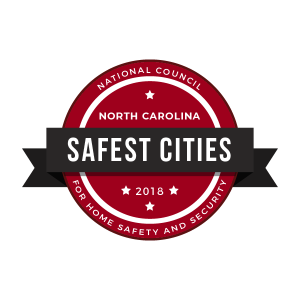 Safest Cities 2018 badge. Source: National Council for Home Safety and Security www.alarms.org