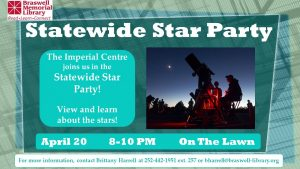 Statewide Star Party 2018 locations include Rocky Mount NC. Source: Braswell Memorial Library
