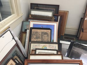 A few of the 1000 of framed items preparing for storage in the Out Post. Photo: Kay Whatley