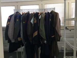 Uniforms moving into storage in the Out Post. Photo: Kay Whatley