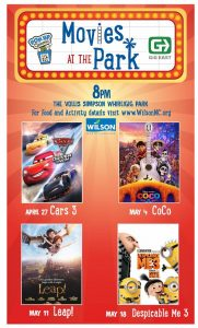 New movie series for 2018 in Wilson NC's Whirligig Park. Source: Wilson Downtown Development Corporation