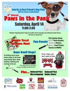 Paws in The Park 2018 flyer: Source: City of Rocky Mount NC