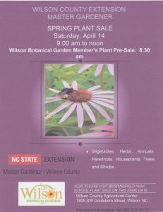Wilson Botanical Gardens 2018 Plant Sale flyer.