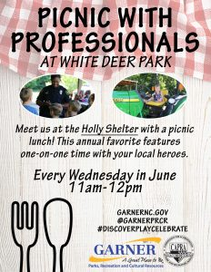 Picnic with Professionals poster. Source: Megan Thornton,Garner Parks, Recreation & Cultural Resources