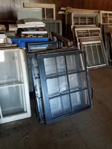 A portion of the windows expected to be included in the 2018 architectural salvage sale. Source: Barbara Green, Preservation Rocky Mount