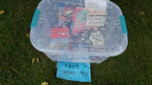 Free books donated by Johnston County Writers Group, given away during Literacy Day. Source: Cindy Brookshire
