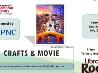 Crafts and Movie July 28, 2018 flyer. Source: Braswell Memorial Library, Rocky Mount, North Carolina