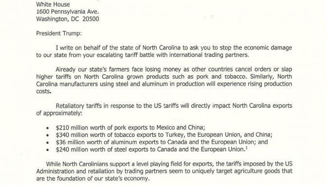 Letter: Governor Cooper to President Trump: Tariffs Harming NC Farmers and Manufacturers (page 1 of 2). Source: NC Office of the Governor