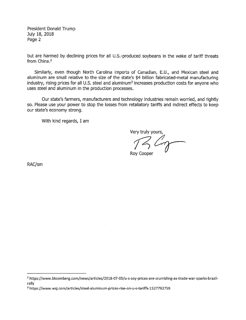 Letter: Governor Cooper to President Trump: Tariffs Harming NC Farmers and Manufacturers (page 2 of 2). Source: NC Office of the Governor