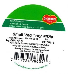 One of several labels released with the US FDA Del Monte recall June 2018.