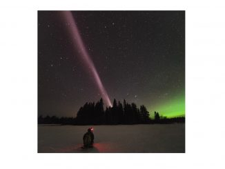 Alberta Aurora Chasers capture STEVE on April 10, 2018 in Prince George, British Columbia, Canada. Aurora Chaser Robert Downie kneels in the foreground. Photo: Ryan Sault