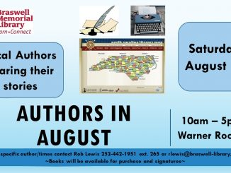 Authors in August 2018 flyer. Source: Rob Lewis, Braswell Memorial Library, Rocky Mount, North Carolina