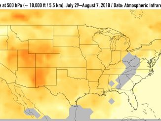 One of series of images releaed by NASA that shows carbon monoxide (in orange/red) from California's massive wildfires drifting east across the US. It was produced using data from the Atmospheric Infrared Sounder (AIRS) on NASA's Aqua satellite. Source: NASA/JPL-Caltech
