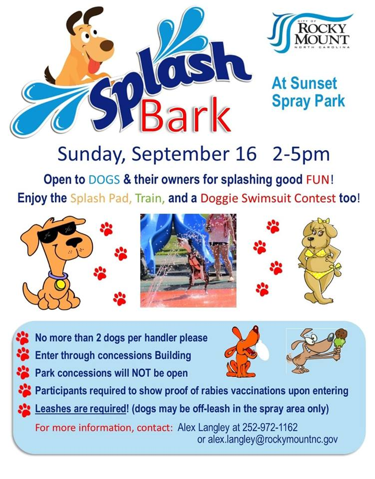 Splash Bark 2018 flyer. Source: Best Friends Dog Park, Rocky Mount, North Carolina