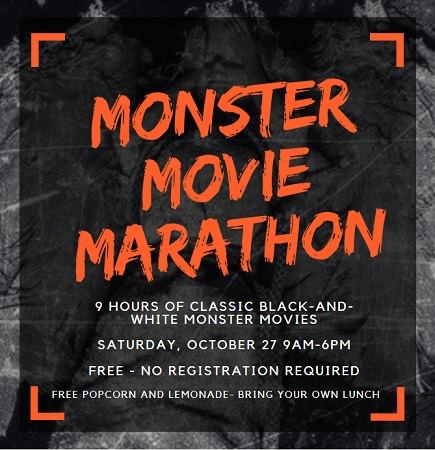 Monster Movie Marathon event flyer. Source: Wilson County Public Library, Wilson NC