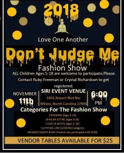 Don't Judge Me Fashion Show 2018. Source: Love One Another, Wilson NC