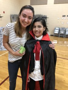 Cielo Hernandez of Youngsville NC pictured with buddy volunteer Emily Langese at 2018 Fall Festival. Source: Donna Wade, The Miracle League of Franklin County (NC)