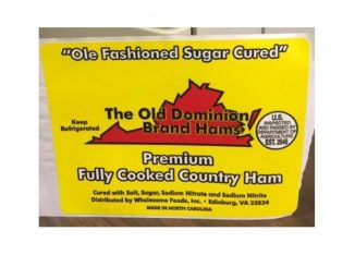 One of the labels released with the Johnston County Hams recall in October 2018. Source: USDA Food Safety and Inspection Service