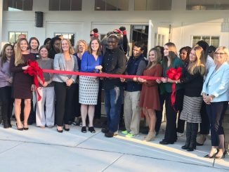 Bell Partners executives, staff, and members of the Knightdale Chamber of Commerce joined Mayor James Roberson in the official ribbon cutting ceremony to commemorate the grand opening of Parkstone at Knightdale NC.