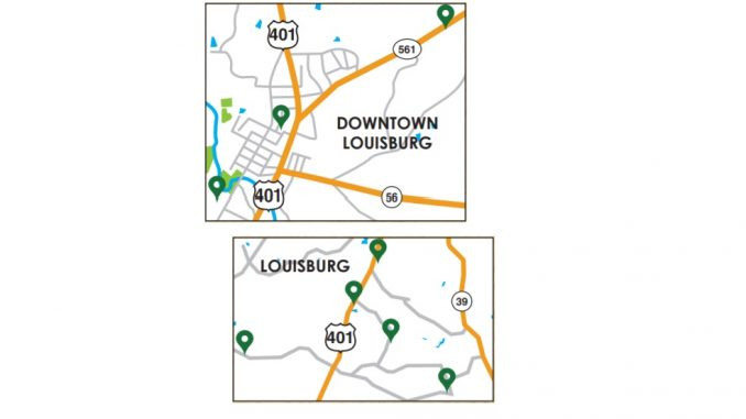 Louisburg NC quilt block locations map. Source: FCAC brochure for The Quilt Trails of the Tar and Roanoke Rivers