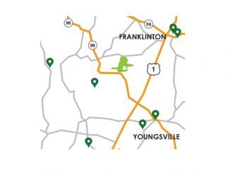 Youngsville quilt block locations map. Source: FCAC brochure for The Quilt Trails of the Tar and Roanoke Rivers