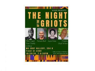 The Night of the Griots storytelling event flyer. Source: Mary Bradley, WHQR Gallery