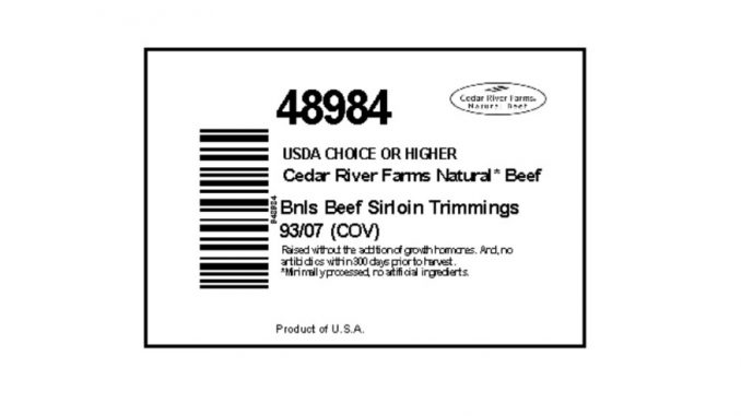 One label in dozens released with the JBS Tolleson beef products recall. Source: USDA Food Safety and Inspection Service
