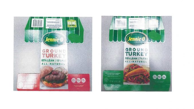 Two of the labels released with the Jenny-O raw ground turkey products recall. Source: USDA FSIS