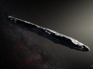 An artist's concept of interstellar asteroid 1I/2017 U1 ('Oumuamua) as it passed through the solar system after its discovery in October 2017. Image: European Southern Observatory / M. Kornmesser