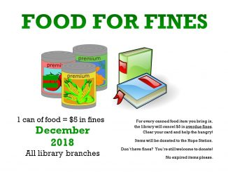 "Wilson County Public Library ""Food for Fines"" flyer, December 2018. Source: Amanda Gardner, Wilson County Public Library"