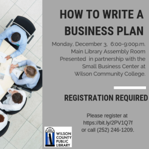 Business event December 3, 2018. Source: Wilson County Public Library, Wilson NC
