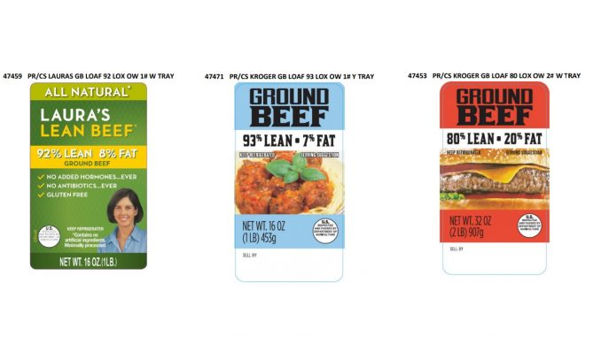 Three of the many labels released with the JBS Tolleson beef products expanded recall on December 4, 2018. Source: USDA Food Safety and Inspection Service
