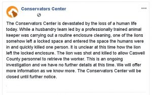 The Conservators Center public Facebook post.