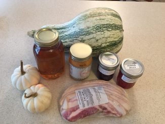 Zebulon NC farm-fresh squash (Wrenn's Farm), bacon (Oak Ridge Farm), posed with locally-canned goods. Photo: Kay Whatley