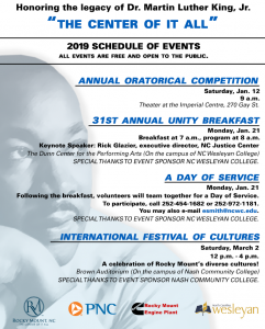 MLK 2019 schedule of Rocky Mount NC events. Source: City of Rocky Mount