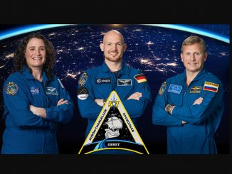 Official crew portrait of Expedition 57 crew members (from left) Serena Auñón-Chancellor of NASA, Alexander Gerst of ESA (European Space Agency) and Sergey Prokopyev of Roscosmos. Source: NASA