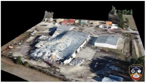 Three dimensional model of the Bunn, NC warehouse fire. Credit: Pilot Steve Rhode, Wake Forest Fire Department
