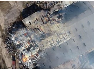 Drone imagery three hours later showing Bunn, NC warehouse damage. Credit: Pilot Steve Rhode, Wake Forest Fire Department