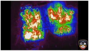 Drone rainbow thermal shot of Bunn, NC warehouse fire. Credit: Pilot Steve Rhode, Wake Forest Fire Department