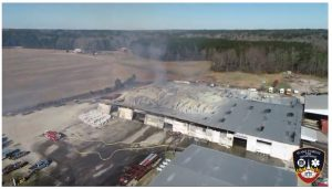 Drone image taken on arrival at the Bunn, NC fire. Credit: Pilot Steve Rhode, Wake Forest Fire Department