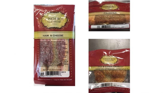 Grand Strand Sandwich Company product photos released with the recall. Source: US FDA
