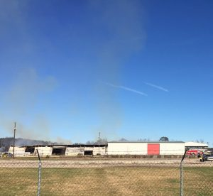 Large warehouse on fire, hemp storage building in front was protected by fire departments and seemed undamaged. Photo: Kay Whatley