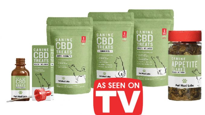 Pet Med Labs products, which will be the first CBD products to advertise on TV since Farm Bill made hemp legal across the US. Source: Pet Med Labs, California