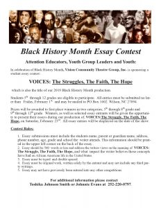 Black History Month Essay Contest. Source: Vision Community Theatre Group, Inc.