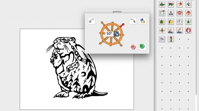 Screenshot of MicroWorlds JR software in Ojibwe, display includes Indigenous artwork. Source: Michael Furdyk, TakingITGlobal