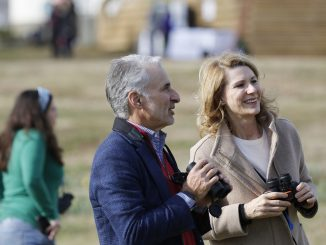 David Yarnold, left, president and CEO of the National Audubon Society, and Kristin Cooper, right, first lady of North Carolina, talk as look for bird species during the Great Backyard Bird Count at Dorothea Dix Park in Raleigh, NC, Friday, February 15, 2019. Held Friday through Monday February 18th, the 22nd annual GBBC uses volunteers, from beginning bird watchers all way to experts, to take a snapshot of global bird populations. Participants can count as short as 15 minutes and upload their findings online to help researchers. Photo: Eamon Queeney / For the National Audubon Society